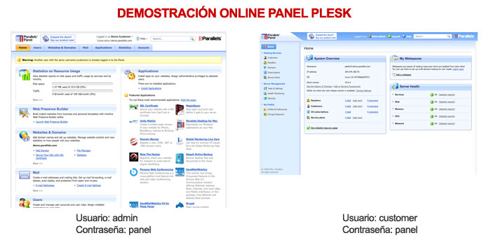 acceso panel plesk demo Oklan